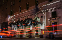 tourist trade (pbo31) Tags: bayarea california nikon d810 color february 2018 winter sanfrancisco city urban night dark lightstream motion traffic black palace hotel roadway downtown tourist financialdistrict visit