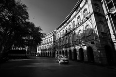 Evening shadows (Debmalya Mukherjee) Tags: mumbai colaba debmalyamukherjee canon550d 1018mm blackandwhite monochrome car road
