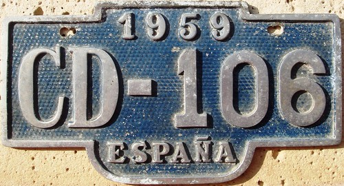 Spanish 1959 Diplomatic License Plate
