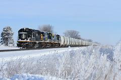 Winter Wonderland (Conductor Cronk) Tags: train railroad winter snow frost freezing fog landscape illinois central sd70 ic deathstar mainline mid america bnsf railway snowy blue sky