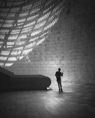 Shadow Boy (Vesa Pihanurmi) Tags: underground tunnel shadow architecture interior boy figure character silhouette lisbon lisboa portugal blackandwhite monochrome streetphotography