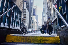 Surface (marktmcn) Tags: new york city manahattan nyc subway exit yellow step surfaces handrails people street buildings urban scene winter sonow wintry dsc rx 100