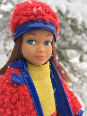 1. Skipper in Wooly Winner (Foxy Belle) Tags: skipper doll barbie snow winter outside nature wooly winner red blue bumpy yellow dress mod mini shirt plaid