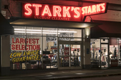 Stark's Vacuum Cleaners (Curtis Gregory Perry) Tags: portland oregon neon sign starks vacuum cleaners sweeper largest selection low price guarantee window night long exposure signage nikon d810