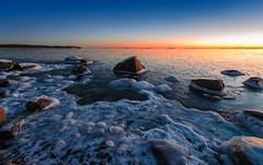 Icesolated (tinamar789) Tags: winter ice icy rocks sea seascape sunset horizon blue hour seashore lauttasaari helsinki finland frost frozen