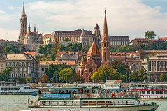 Duna Boat Traffic and Buda View (fotofrysk) Tags: duna danube river water boats cruiseboats churches architecture buildings easterneuropetrip hungary budapest buda afsnikkor703004556g nikond7100 201709298481