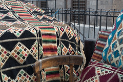 20180101 Cairo, Egypt 08992-655 (R H Kamen) Tags: cairo egypt egyptianculture middleeast northafrica automobile buildingexterior carpet day geometricpattern marketstall outdoors pattern retail rhkamen street striped