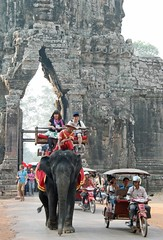 Gateway to Angkor Wat Cambodia (Dave Russell (1 million views thanks)) Tags: building architecture structure history historic gate gateway entrance angkor ankor wat watt cambodia far east eastern asia outdoor travel tourism elephant people canon rickshaw transport nature siem reap