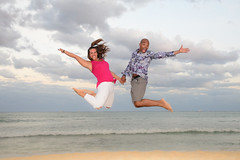 We jump (Cris_Pliego) Tags: session beach caribe sunset love family couple happy pose smile holdinghands lookaway solo model kiss birthday hug jump gay