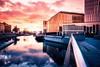 Malmö Live (Maria Eklind) Tags: sunset himmel spegling city canal bridge bor malmö bagersplats reflection kanal arkitektur malmölive water solnedgång sweden sky architecture skånelän sverige se