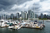 Boats, Skyline, Clouds (PDX Bailey) Tags: boat ship water sailboat clouds storm gray grey blue vancouver bc british columbia skyline canada building skyscraper sky white cloud bay river