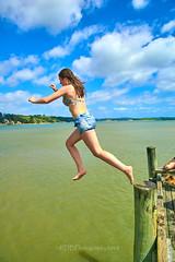 Pahi Beach 143 (C & R Driver-Burgess) Tags: teen young boy girls leap jump harbour wharf sea kaipara brother sister girlfriend nephew niece son daughter shorts halter top green blue clear sky sunny summer splash