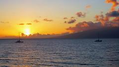 Maui Hawaii Sunset (PDX Bailey) Tags: sunset sky sea ocean orange water boat sail sailboat blue wave evening canon camera photography