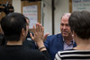 High-fives with Bill Walsh (DerekSteen) Tags: billwalsh speaker talk successresourcesamerica guerrillabusinessschool atriumhotel irvine california highfive