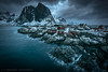 Stormy day at Hamnoy Lofoten (tommerchant1) Tags: lofoten norway nordland stormy storm stormclouds rainclouds rain clouds mountains snow sea village nikon rough hamnoy