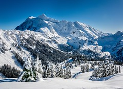 Unreal day yesterday snowshoeing around the Mt Baker Ski Area. This picture is of the nearby Mt Shuksan as seen from Artist Point (plottsdaniel) Tags: bellingham seattle winterlandscape winter mountains mountain landscapephotography landscape explore hiking hike snowshoeing snowshoe nikkor nikon artistpoint mtbakerskiarea pacificnorthwest pnw mtshuksan