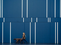 lines (Sandy...J) Tags: dog walking walk wall wand women fotografie fassade facade lines linien germany gehen deutschland street streetphotography sw stadt spazieren blau frau urban olympus farbe colour photography architektur architecture city colors