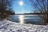 Reflections on ice (++sepp++) Tags: landscape landschaft landschaftsfotografie schnee winter eis ice pond quarrypond see baggersee gegenlicht backlight backlit snow cold kalt sonnig sunny bayern bavaria deutschland germany graben