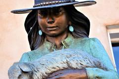Shepherd Girl (thomasgorman1) Tags: sculpture bronze girl native american gallery nikon closeup face art santafe nm figurative statue