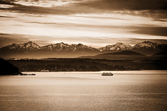 Snow Capped Mountains (Paddy O) Tags: 2018 olympicmountains sunnyafternoon sunset blackwhite pugetsound water mountains sky sepia ship seattle westseattle vashonisland