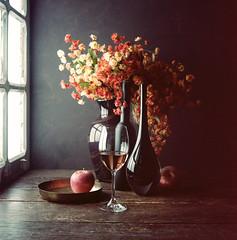 Still Life with wine and an apple (Luiz L.) Tags: vermelho