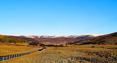 Clear blue over Glen Clova . (alan.irons) Tags: landscape glenclova angus glens mountains cairngorms national park bluesky colour clear frost autumn scotland farmland road fence snow heathland grass