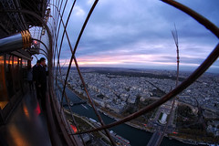 A View from the Top (Gary Burke.) Tags: eiffeltower landmark latoureiffel architecture tower touristattraction travel wanderlust tourism paris france vacation citylife cityliving urban city traveling europe european klingon65 garyburke urbanphotography travelphotography citystyle french sony a6300 mirrorless sonya6300 sky clouds outdoor gustaveeiffel champdemars cityoflights icon culturalicon sunset uwa fisheye wideangle parisian iledefrance îledelacité 7tharrondissement river water seine bridge riverseine view landscape cityscape people tourists observationdeck