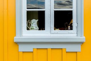 Window in the yellow house in Glaumbær in Skagafjörður, Iceland