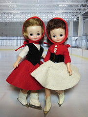 Little skaters (Foxy Belle) Tags: vintage doll betsy mccall ice skate skating rink felt skirt red white black original tiny hard plastic 1950s diorama scene winter sport friends