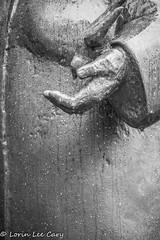 In The Rain (lorinleecary) Tags: ohio sculpture stfrancis toledo toledobotanicalgarden bird hand waterdrops theartistseyes