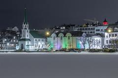 Við Tjörnina. At the Reykjavikpond (icecold46) Tags: reykjavik reykjavikpond fríkirkjan listasafn iceland winter snow frosenpond outdoor building church road sky constuctioncrane