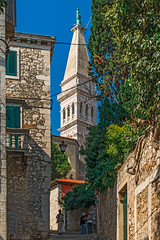 Uphill with Campanile and Statue of Church of St Euphemia (fotofrysk) Tags: streets uphill climbing hilltop people locals tourists steuphemiacampanile campanile church tower statue steuphemiastatue tomb building architecture easterneuropetrip croatia rovinj istria dalmatiancoast sigma1750mmf28exdcoxhsm nikond7100 201710047935