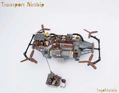 05_Transport_Airship (LegoMathijs) Tags: lego moc legomathijs steampunk mine transport airship crane cargo pickaxe ore trade propellors steampowered space scifi minifig exhaust miners mining discovering discovery