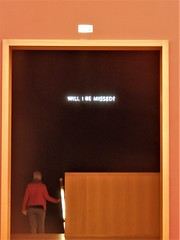 Will I be missed? (magellano) Tags: arte art scala stairs neon scritta sign museo museum fine arts bildenden künste leipzig lipsia germania germany deutschland porta door persona people donna woman candid
