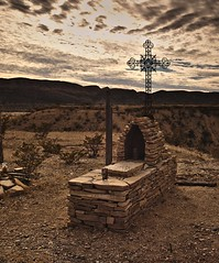 Telingua grave (dr_scholz@ymail.com) Tags: grave old sky stone outdoors mexican cross gravel desert texas clouds