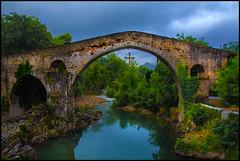 Old Roman Bridge in Cangas de Onis with Asturian Cross (angelofruhr) Tags: best spain spanien