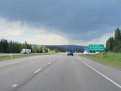 Turn left (on Highway 40) if you want to go to Grande Cache or Grande Prairie (jimbob_malone) Tags: 2017 highway16 alberta
