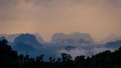 View form Tiger Temple, Krabi, Thailand (Paulius Bruzdeilynas) Tags: thailand thai krabi viewpoint tigertemple mountains sunset weather clouds fog travel trip holiday sony sonyalpha sonya7ii