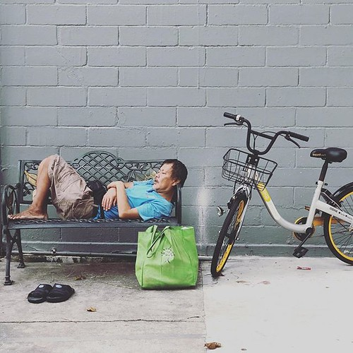He chose sleep. #luxury #ratrace #obike by inju, on Flickr