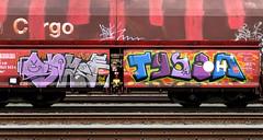 graffiti on freighttrains (wojofoto) Tags: freighttraingraffiti freighttrain fr8 cargotrain vrachttrein amsterdam nederland netherland holland graffiti streetart wojofoto wolfgangjosten tyson opzek