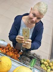 Fresh (Melissa Maples) Tags: antalya turkey türkiye asia 土耳其 apple iphone iphone6 cameraphone photographer reflection mirror migros me melissa maples selfportrait woman clementines fruit food shorthair blonde