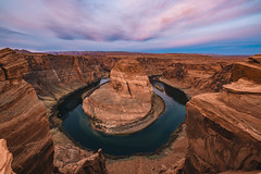 horseshoe bend (almostsummersky) Tags: horizon rockformation sunrise winter overlook dawn coloradoriver viewpoint clouds morning page bend river horseshoebend water rockwall sky arizona curve edge cliff rocks