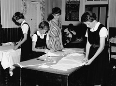 State High School, Domestic Science, Garment cutting - Brisbane (Queensland State Archives) Tags: people girls students teachers teaching garmentcutting domesticscience education classroom statehighschool brisbane queensland history record archives qld queenslandstatearchives