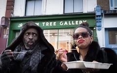 Suspicion (XBeauPhoto) Tags: london bling candid citylife eating food fujix100f hooded market portabelloroad streetfood streetphoto streetphotography sunglasses suspicion urban