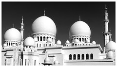 Sheihk Zayed Mosque (posterboy2007) Tags: sheihkzayedmosque abudhabi uae mosque muslim religion dome minaret white monochrome