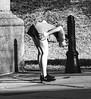 Modern Reading (Cheryl Atkins) Tags: baltimore funny xt2 fuji minochrome blackandwhite streetphotography streetshot