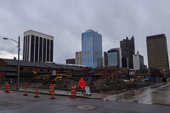 Cosi Lot Construction (ChristopherPack) Tags: chrispackphoto photography construction downtown columbus ohio city cityscape street canon 80d canon80d rain rainy site building buildings chase traffic cone cloudy pic picture photo