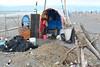 Huts and Nets 2 (Bob Hawley) Tags: nikond7100 nikkor35135mmf3545lens yilancounty lanyangestuary lanyangxikou seaside coast beach sand winter asia taiwan fishermenshuts sandspits structures guishandao guishanisland trash flotsuamandjetsam sticks nets