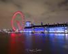 London Eye (David Castro Rodriguez) Tags: london nikon nikkor londoneye red blue night long exposure water tamesis sky clouds
