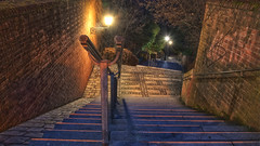 Hubertreppe (madmtbmax) Tags: dachau bayern bavaria germany deutschland oldcity altstadt scene hdr highdynamicrange nikon d850 luminar2018 night low light stairs stairway
